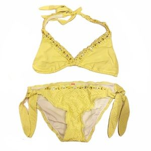 Victorias Secret Yellow Ruffle Lace Gem Bikini Set